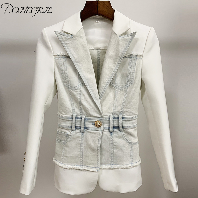 High Quality Women Denim Spliced  Long Sleeve Casual Fashion Jackets Ladies Blue Jeans Jacket Coat