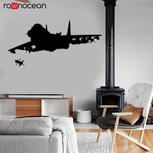 Jet Fighter Firing Missile Military Theme Wall Sticker Vinyl Home Decor Room Interior Design Kids Boys Bedroom Decals Mural 3623
