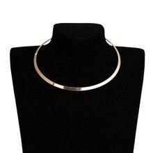 2020 гладкие металлические ожерелья Воротник для Для женщин круглый геометрический золотые массивные панк колье ожерелье, подвеска, колье, о...