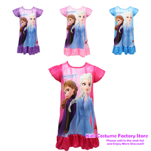 Disney Princess Summer Nightdress Children Pajama Home Clothing Kids Cartoon Frozen Anna Elsa Nightgown Girls Sleepwear Robe