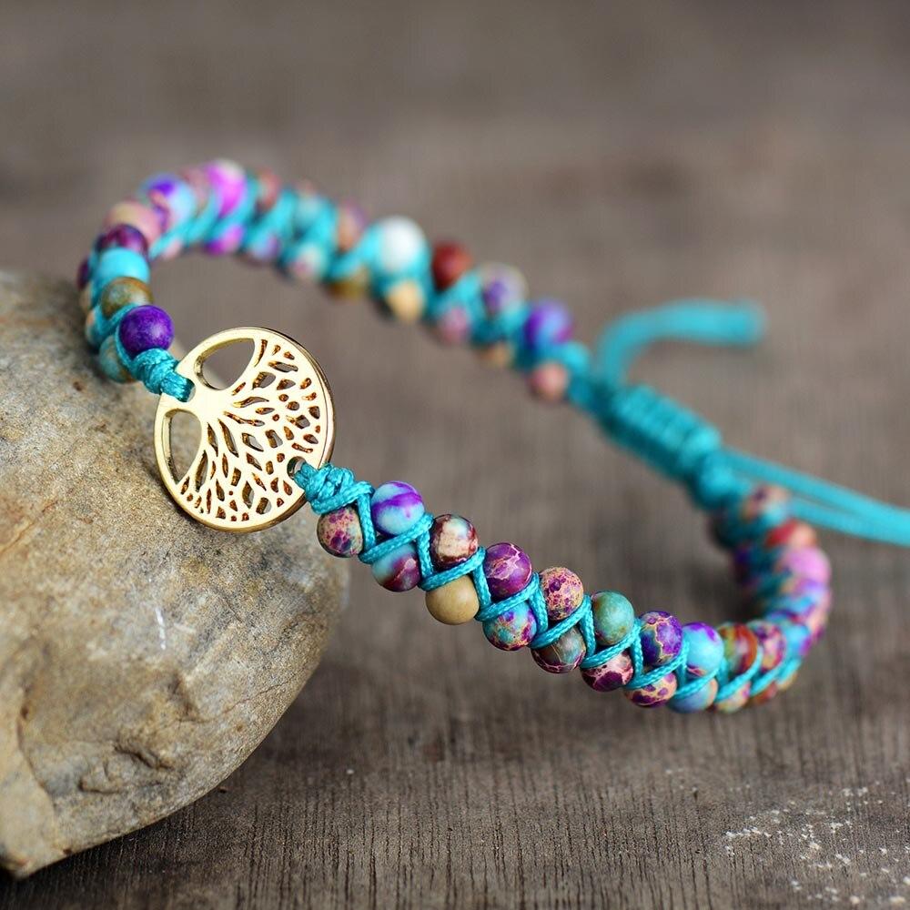 Men Women Bracelet Tree Charm Imperial Jaspers String Braided Bracelets Spiritual Friendship Lover Couples Meditation Bracelets