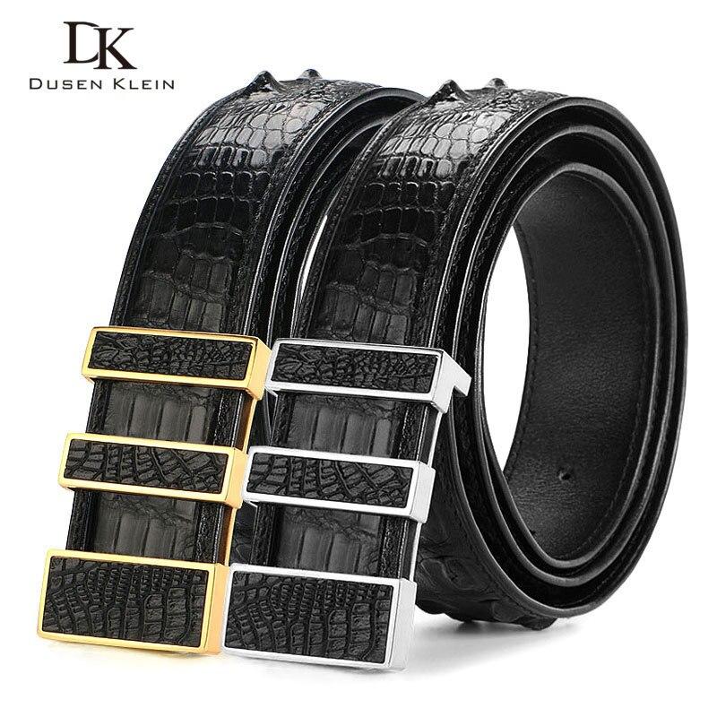 Cinturón de piel de cocodrilo de lujo de Tailandia para hombre, hebilla de acero inoxidable dumen Klein para hombre, cinturón de alta calidad de cocodrilo natural, DK E368 - 2
