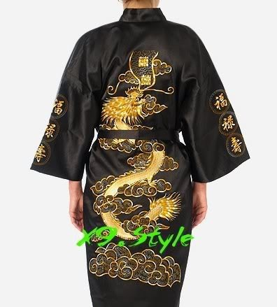 Free Shipping Black Chinese Men's Silk Satin Robe Embroidery Kimono Bath Gown Dragon S M L XL XXL XXXL S0011