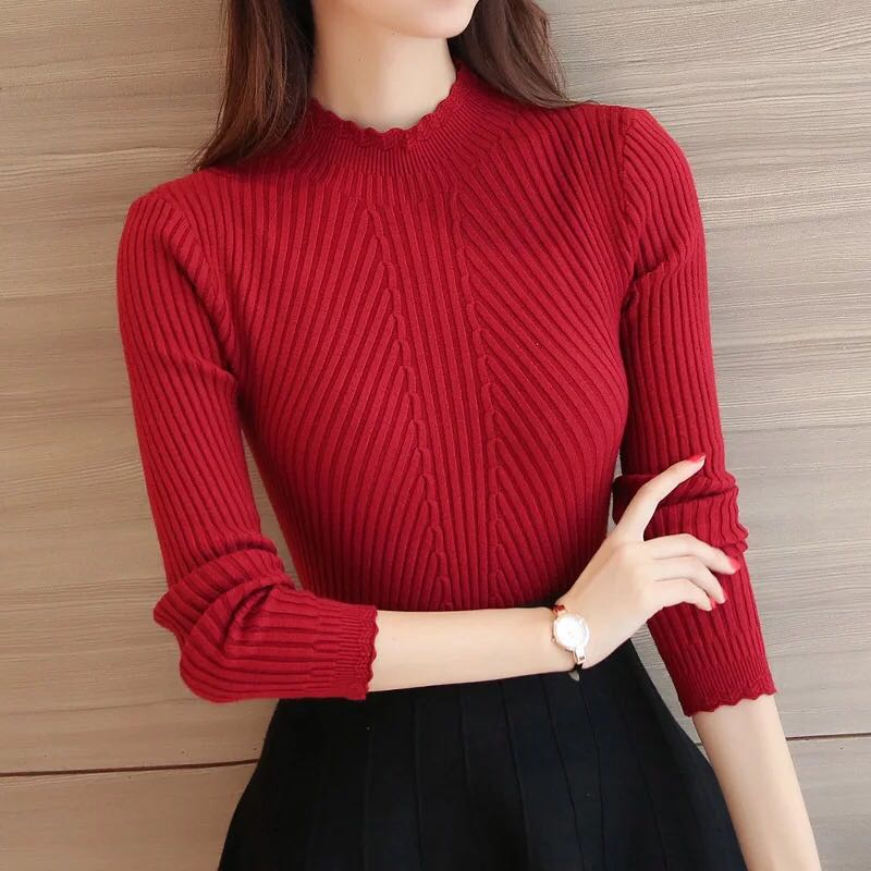 Sweater Women Winter Turtleneck Stretch Sweaters Korean Fashion Woman Pullover Knitted Sweater Womens Sweaters 2019 Winter Mujer