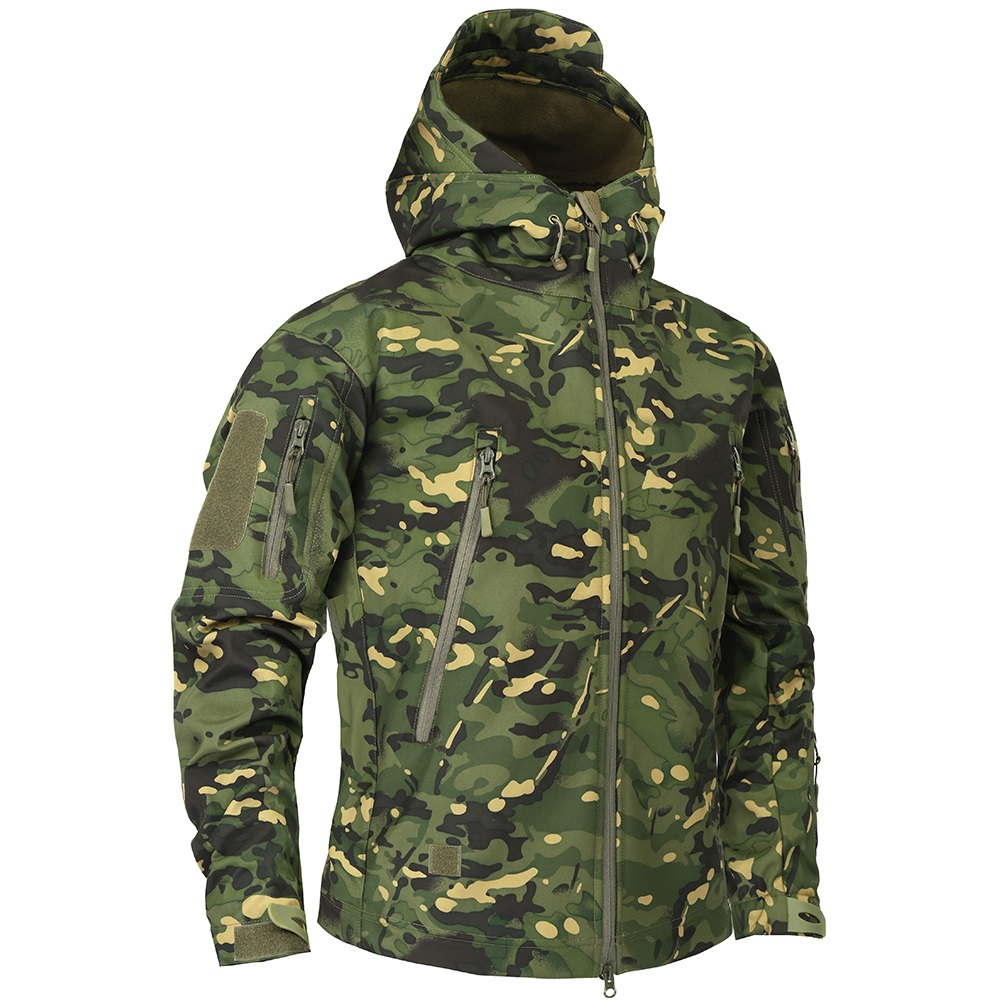 Male Camouflage Windbreakers Autumn Men's Military Fleece Hiking Jacket Outdoor Army Tactical Clothing