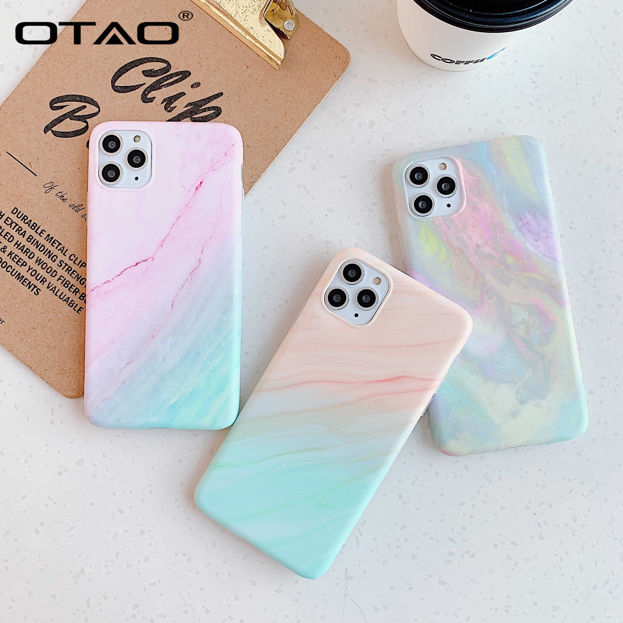 OTAO Gradiënt Case Voor iPhone 11 Pro Max X XR XS MAX Cool Marmer Case Voor iPhone 7 8 6 6S Plus IMD Rainbow Soft Silicone Cover