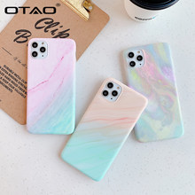 Otao Gradient Case untuk iPhone 11 Pro Max X XR X Max Cool Marmer Case untuk iPhone 7 8 6 6S Plus IMD Rainbow Soft Silicone Cover(China)