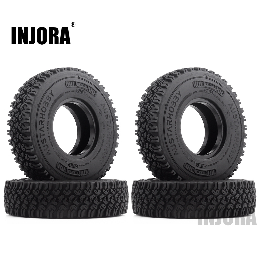 INJORA 4Pcs 1.55 Soft Rubber Terrain Wheel Tires For RC Crawler Car MST JIMNY Axial AX90069 D90 TF2 Tamiya CC01 LC70