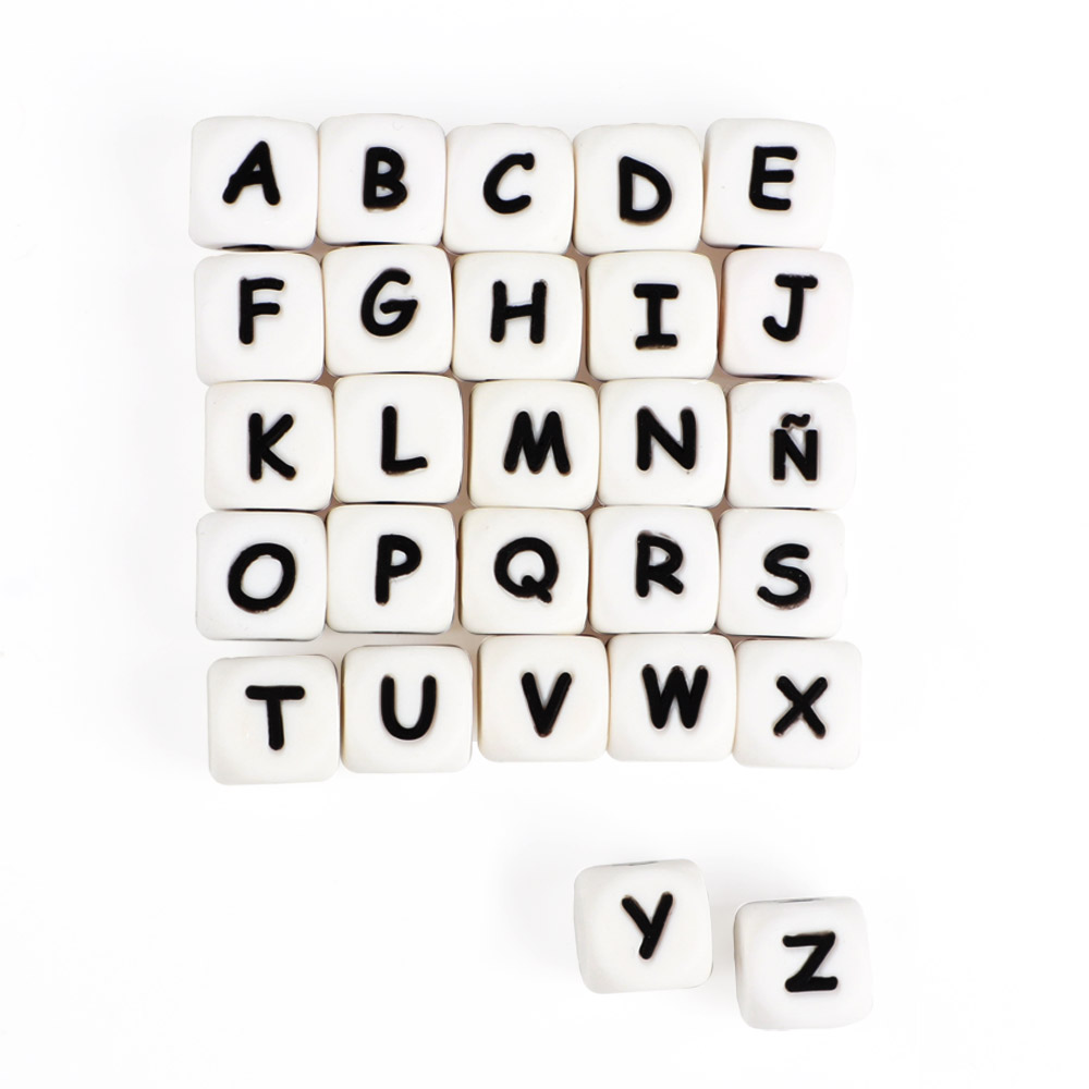 TYRY.HU 100pc Alphabet English Silicone Letter Beads 12mm Baby Teether Accessories For Personalized Pacifier Clips Teething Toy(China)