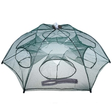 Hot Sale Foldable Fishing Net Fish Shrimp Minnow Crabs Baits Cast Mesh Trap 6 Hole Automatic Lobster Cage Network