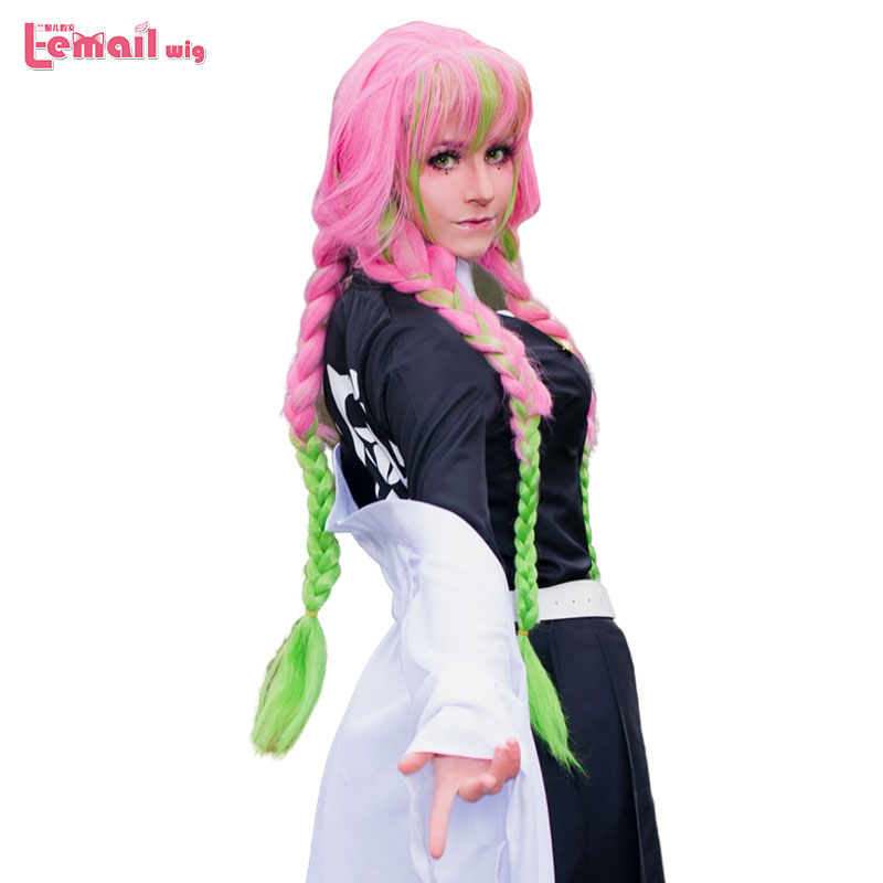 L-email Wig Demon Slayer Kanroji Mitsuri Cosplay Wigs Kimetsu No Yaiba Long Pink Mix Green Braid Cosplay Wig Synthetic Hair