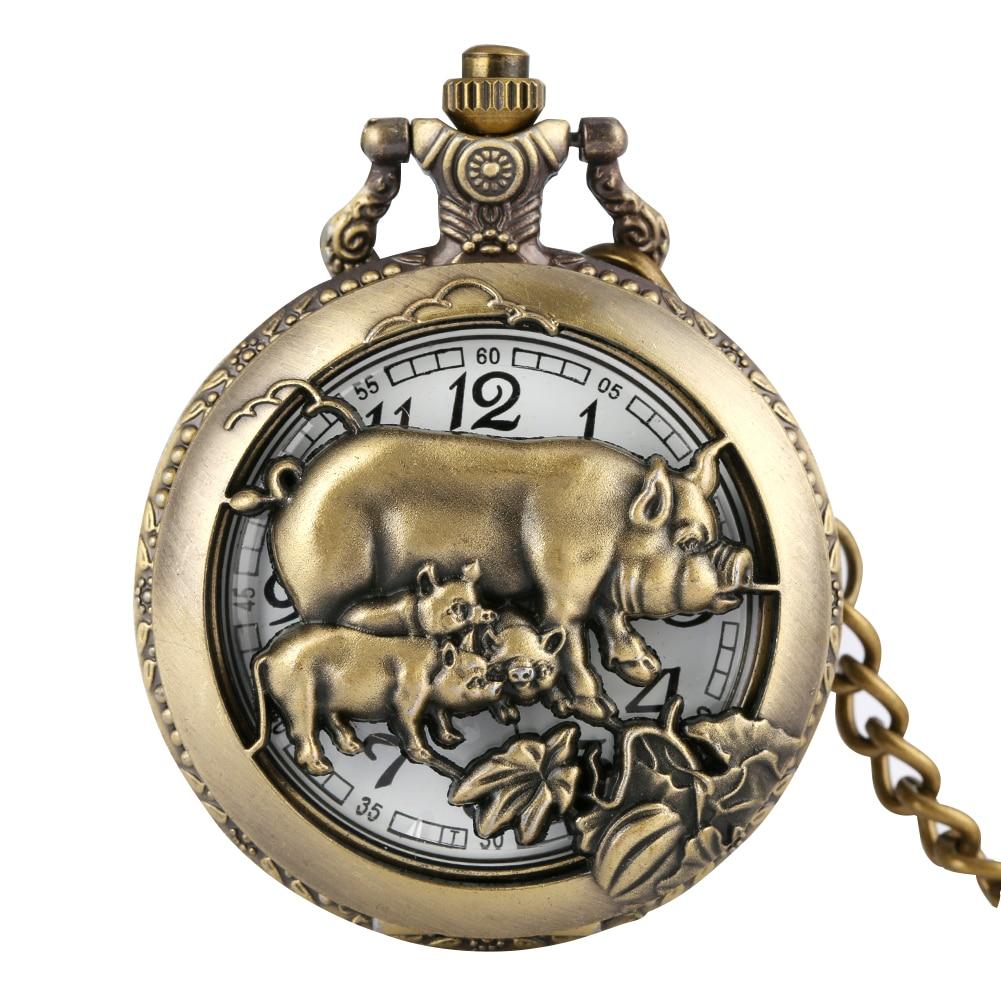 Kuvars cep saati bronz kolye kolye çin zodyak domuz Fob saatler yarım Hunter saat Steampunk Unisex hediyeler cep saati