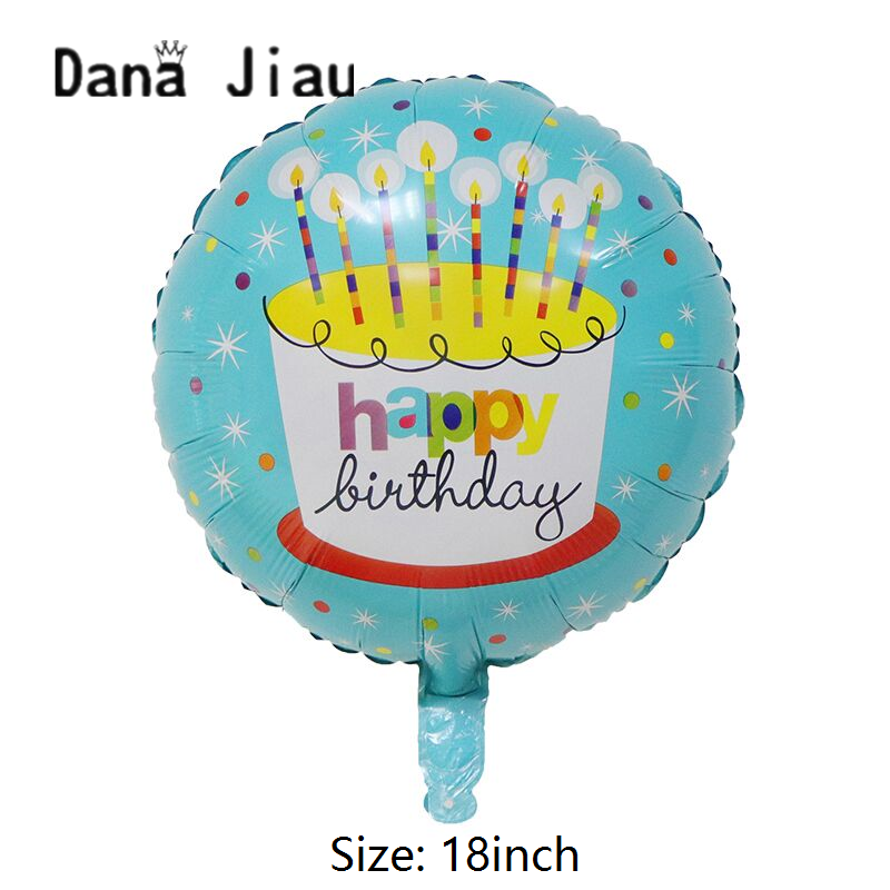 Danajiau blue candle cake 18inch happy <font><b>birthday</b></font> helium balloon kids toy foil ball <font><b>8th</b></font> years old boy party decoration tools suppl image