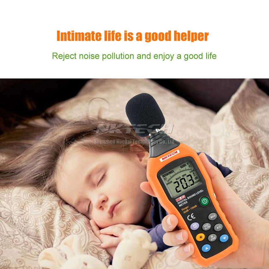 Nktech NK-D3 digitas medidor de ruído nível de som registrador testador áudio decibel monitor 30-130db precisão 1.5db rápida/seleção lenta