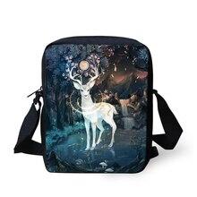 HaoYun Fashion Womens Messenger Bags Fantasy Deer Pattern Girls Cross Body Kawaii Animal Design Mini Flaps Purse Bag