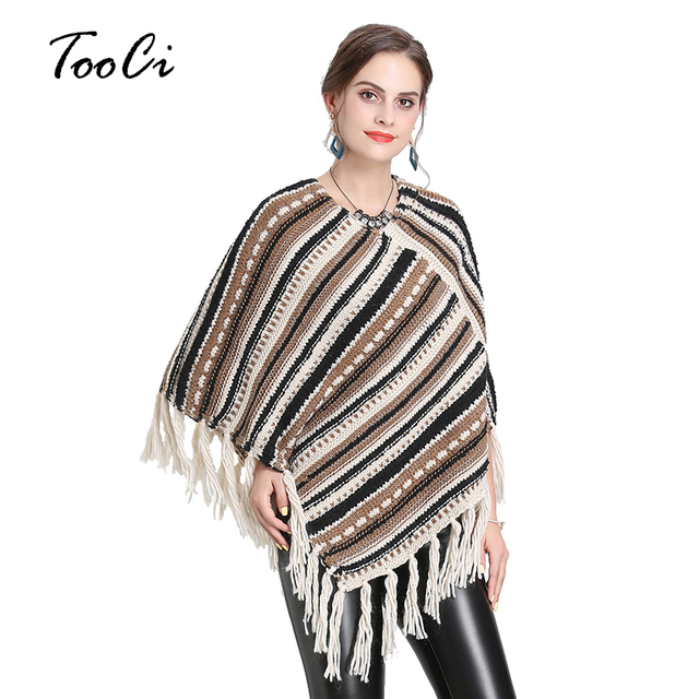 Autumn and winter new Women Loose tassel Poncho cloak shawl V-neck oblique striped pullover Knitted pullover female