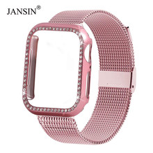 Funda de diamante + banda de bucle milanesa para Apple Watch Series 5/4/3/2/1 inoxidable correa de acero iwatch 38mm 42mm 40mm 44mm pulsera de muñeca(China)