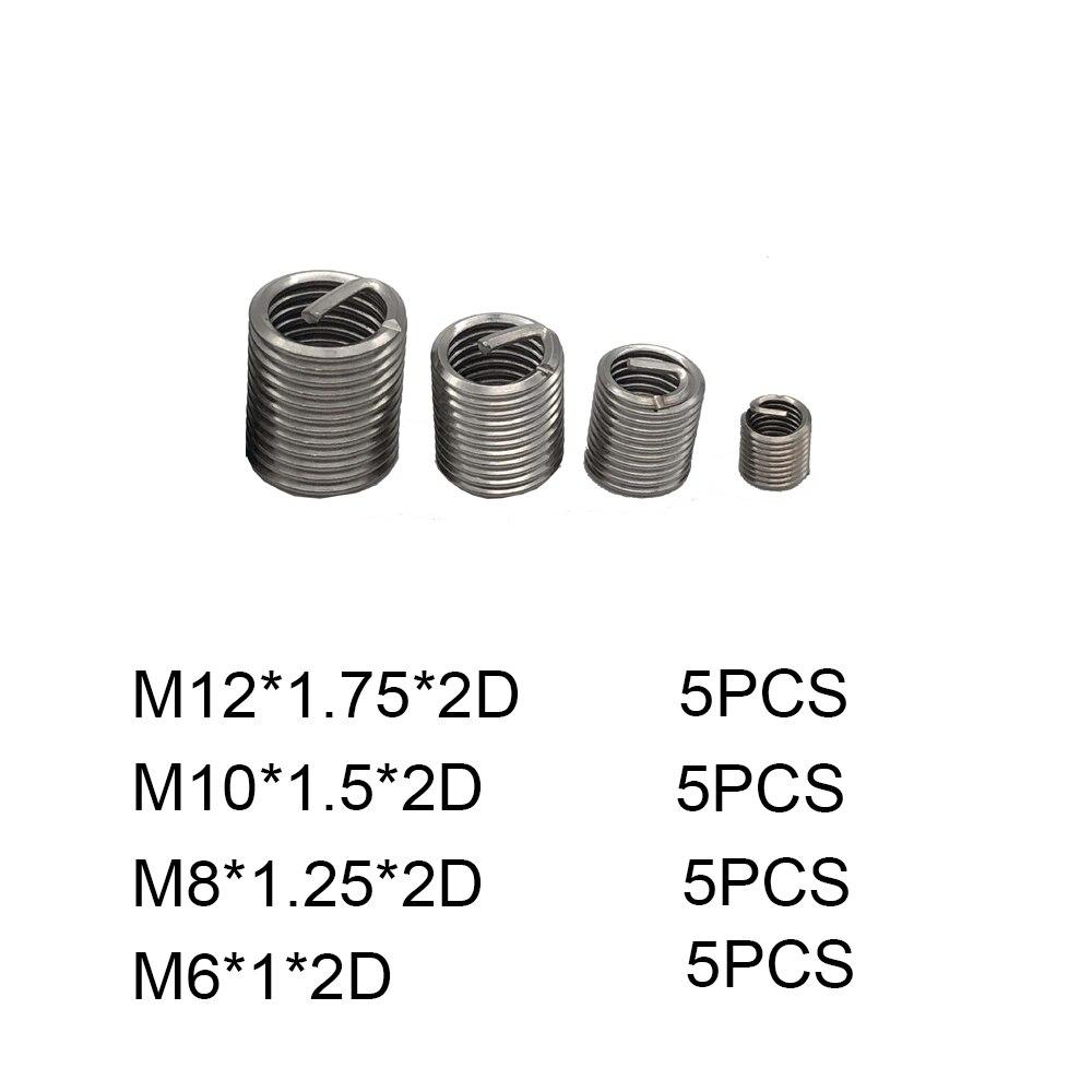 20Pcs Thread Repair Kit M12 M10 M8 M6*2D Threaded Insert Set Stainless Steel Wire For Hardware Repair Tools Narzedzia Warsztatow