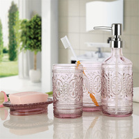 Creative Glass wash bathroom four piece furniture decoration wash bathroom toiletries bathroom accessories soap Dispenser