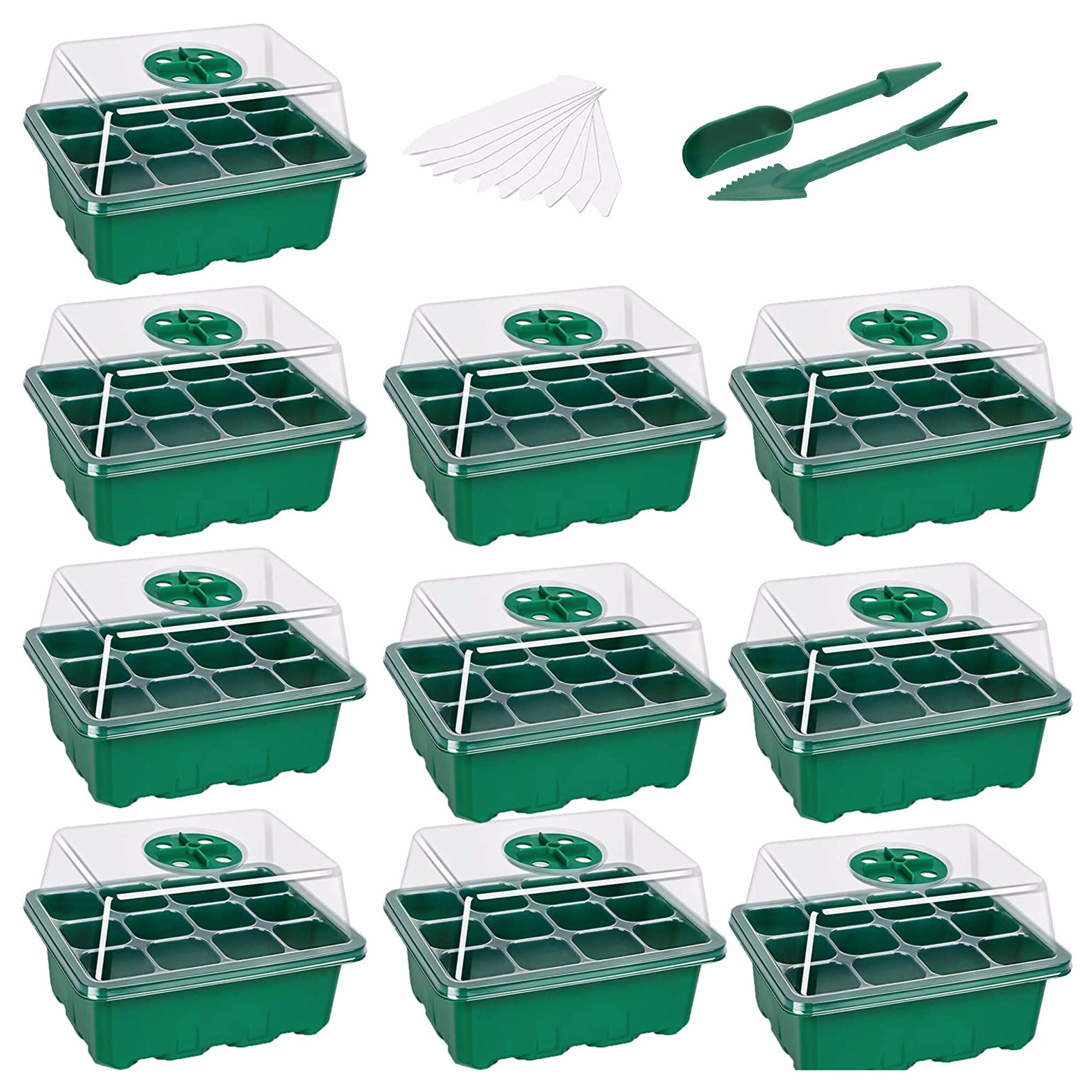 10-pack Seed Starter Trays Nursery Pots Seedling Tray Humidity Adjustable