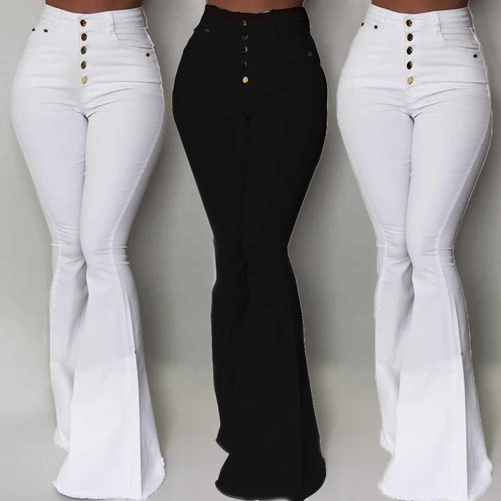 Pantalones Acampanados A La Moda Con Botones Y Cintura Alta Para Mujer Pantalones Ajustados Elasticos De Color Liso Para Mujer D30 Pantalones Y Pantalones Capri Aliexpress