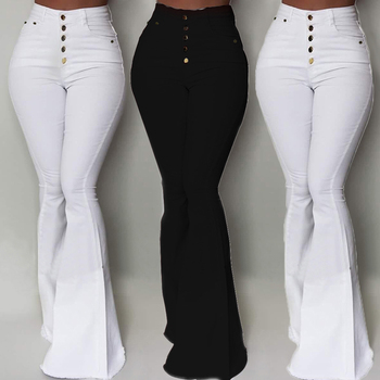 Women's Flared Pants fashion high waist button ladies trousers Skinny Stretch Solid Color Pencil Pants For Female Trousers D30