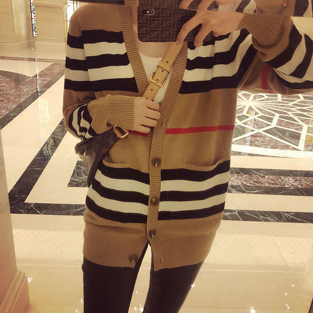 Knitted cardigan coat women's spring 2021 new loose and versatile sweater women's long sleeve sweater thin 5