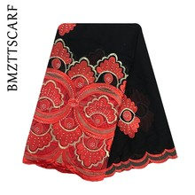 High Quality African Women Scarfs muslim embroidery soft cotton Splicing big scarf