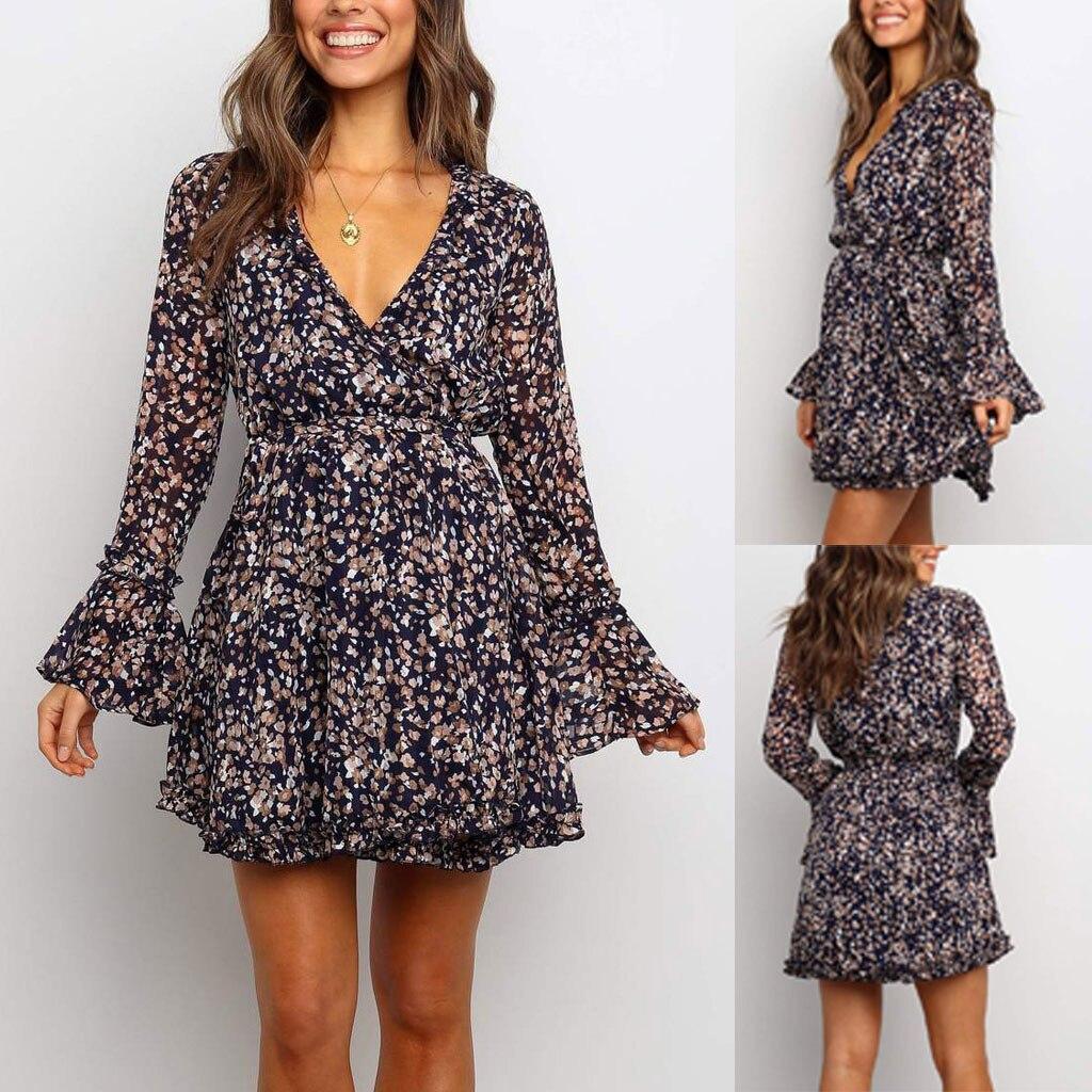 Long Sleeve 2020 Autumn Winter Dress Women Short Party Ruffles Femme Elegant Solid Color Ladies Chiffon Dress Vestidos#J30