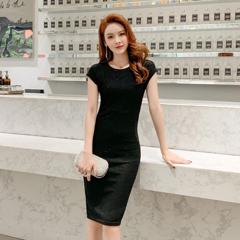 Spring Sexy Party Bodycon Office Sheath Dresses High-end Women O Neck Short Sleeve Elegant  brand 2020 Dress Vintage chic Dress 2
