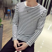 Men's New Stripe Fashion in 2019 T-shirt with Long Sleeves for Men light grey top with stripe and long sleeves
