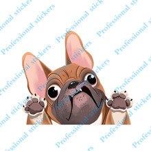 Funny 13cm x 10.9cm Cute French Bulldog Sticker Car Window Decoration Cartoon Dog Car Stickers Reflective Decal Car Styling