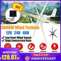 6000W Generatore di Energia Eolica Turbine 12/24/48V Rosso Nero Vento Lama Opzione Con regolatore di Carica del Vento regolatore Misura per la Casa O in Campeggio
