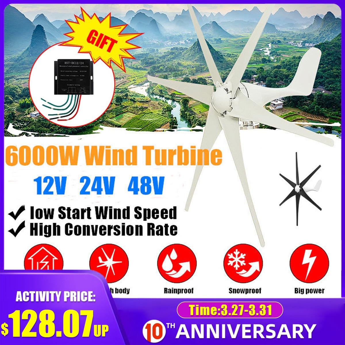 Generador de turbinas eólicas de 6000W, opción de aerogenerador de 12/24/48V rojo y negro con controlador de carga eólica apto para el hogar o Camping