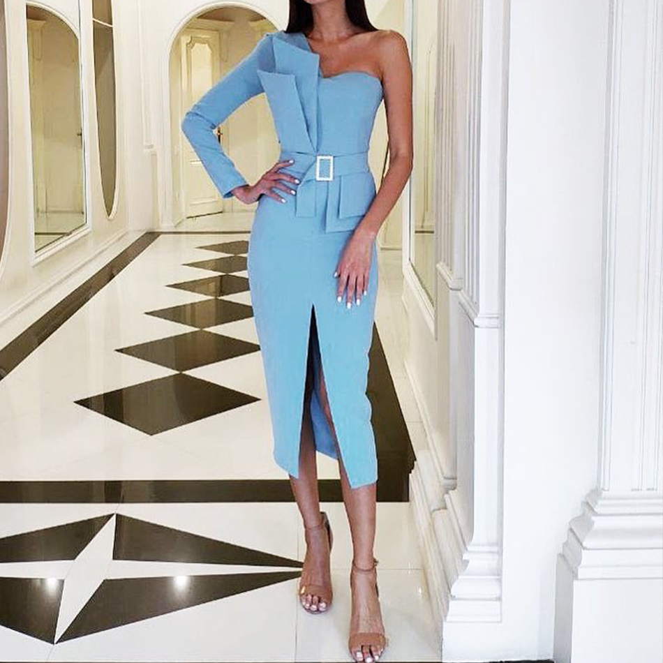 Adyce 2020 New Autumn Women One Shoulder Celebrity Evening Party Dress Vestido Sexy Blue Strapless Sashes Long Sleeve Club Dress