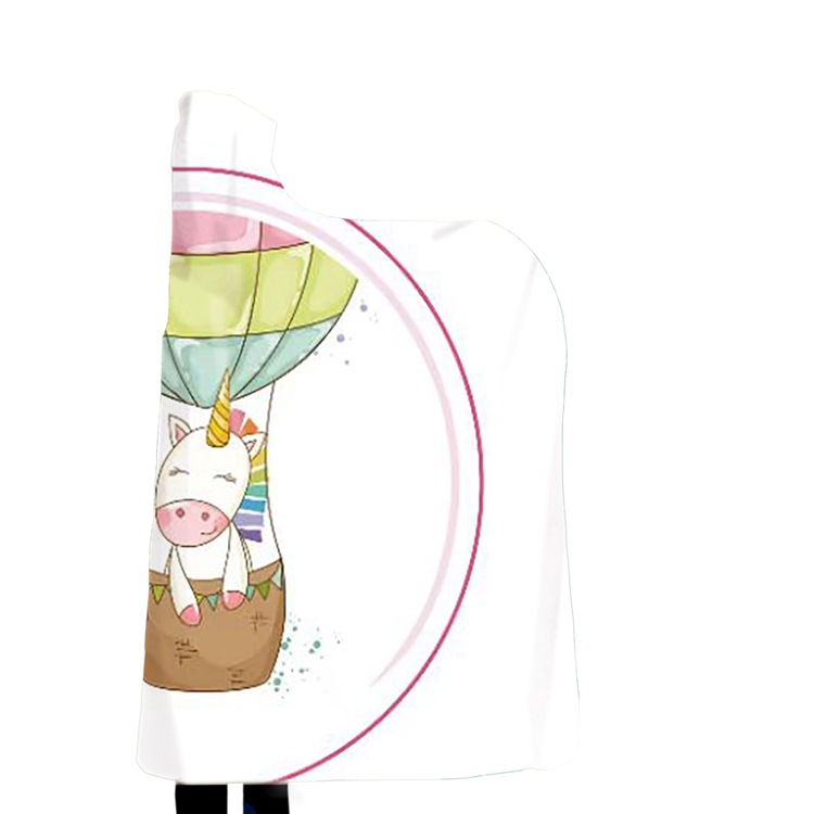 Winter Blanket Sweatshirt Unicorn Cartoon 3D Printed Plush Hooded Blanket for Adults Kid Warm Wearable Fleece Throw Blankets 17