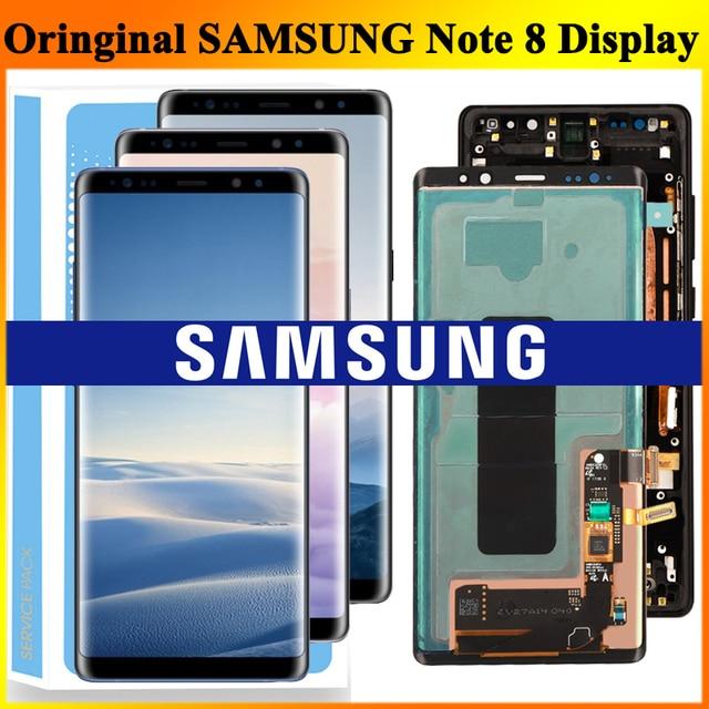 ORIGINAL 6.3 SUPER AMOLEDจอLCDกรอบสำหรับSAMSUNG GALAXYหมายเหตุ8 Note8 N950 N950FจอแสดงผลTouch Screen Digitizer assembly