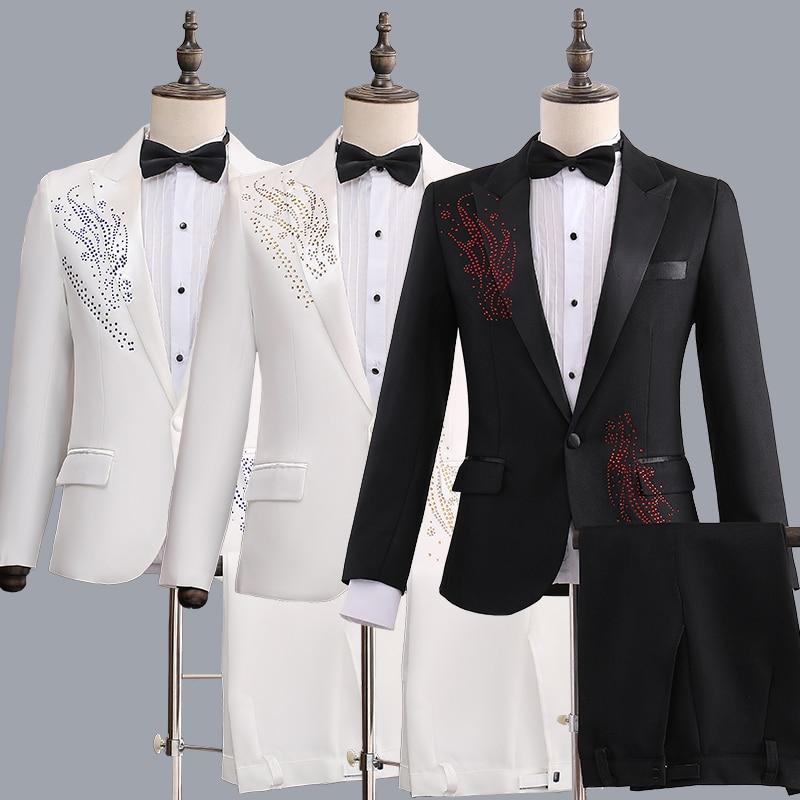 New Mens Host Costumes Suits Jacket Pants One Button Slim Fit Set Rhinestones  T198