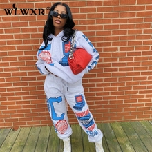 Women Sweatsuits Hoodie Matching-Set Graphic Two-Piece-Sets Long-Sleeve Loose 2 Print