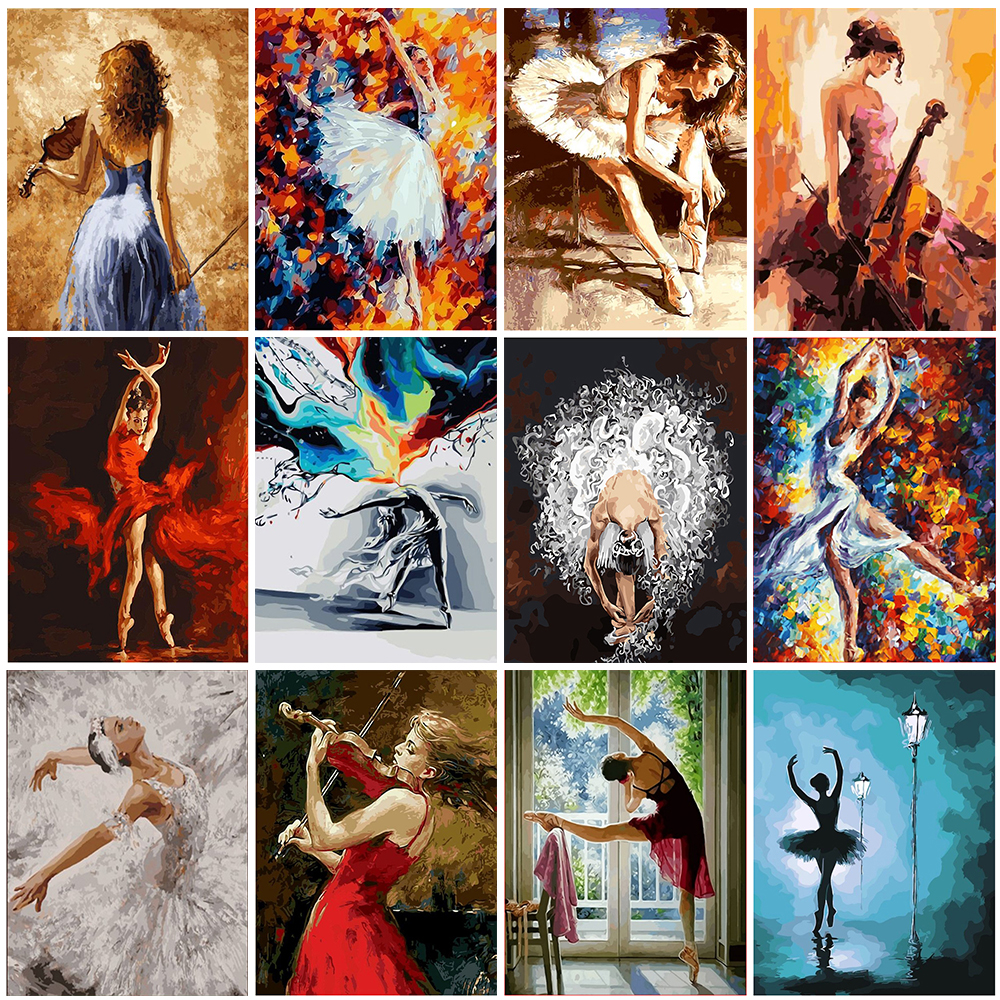 GATYZTORY DIY Painting By Numbers Zero Basis HandPainted Oil Painting Dancing Girl Picture Paint Unique Gift Home Decoration