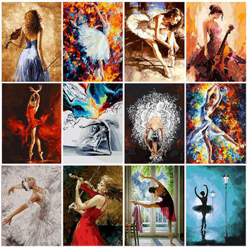 GATYZTORY DIY Painting By Numbers Zero Basis HandPainted Oil Dancing Girl Picture Paint Unique Gift Home Decoration
