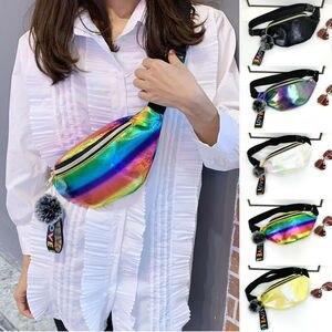 Women Girls Waist Fanny Pack Belt Bag Reflective waist bag Pu purse Chest Phone Pouch Travel Silver Waist Packs Leg Bag