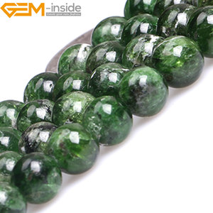 Image 4 - Gem inside AA Grade 7 14mm Natural Stone Beads Round Green Semi Precious Diopside Beads For Jewelry Making 15inch DIY Beads Gift