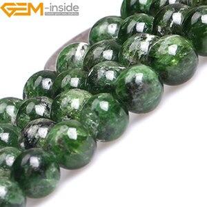 Image 4 - Gem inside AA Grade 7 14mm pierre naturelle ronde vert Semi précieuse Diopside perles pour la fabrication de bijoux 15 pouces bricolage cadeau