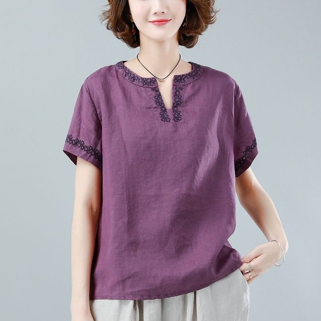 Oversized Cotton Linen Shirt Women Summer Loose Casual Tops New 2020 Simple Style Vintage Embroidery Woman Blouses Shirts P1316 3