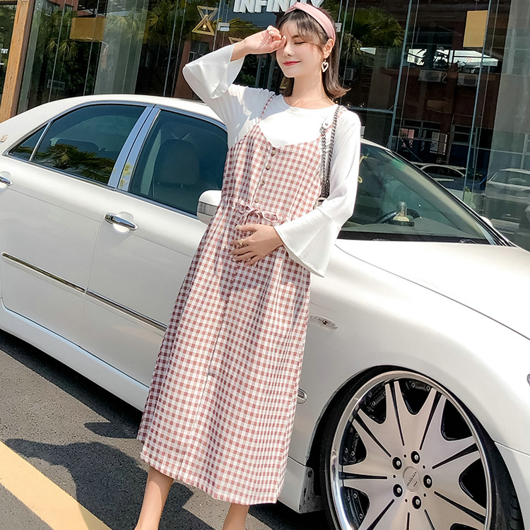 2018 Spring And Autumn New Style Long Sleeve Plaid Two-Piece Set Loose Pregnant Women Mid-length Dress Bell Sleeve Strapped Dres