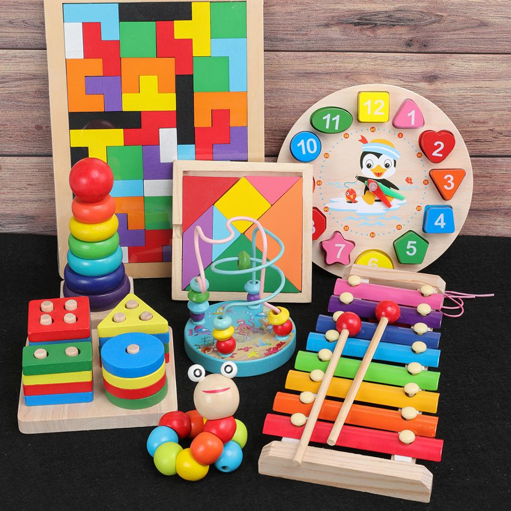 QWZ Baby Montessori Toys Colorful Wooden Blocks Baby Music Rattles Graphic Cognition Early Educational Toys For Baby Gifts