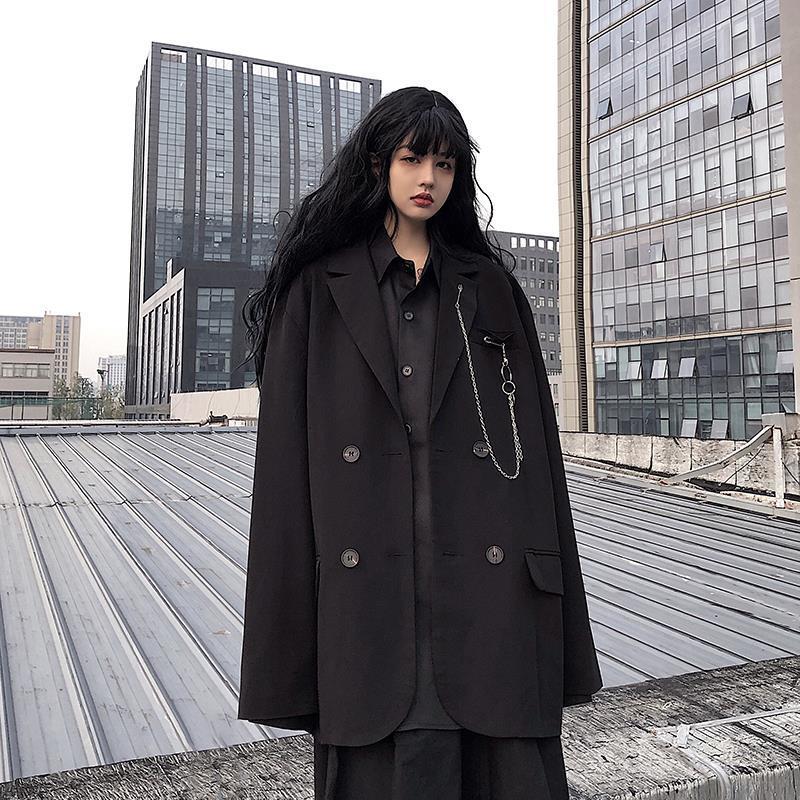 2020 Women Blazer Black Spring Autumn Suit Jacket Female Loose New Ins Dark Long-Sleeved Casual Suit  Woman Coat
