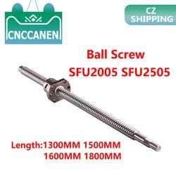 Ballscrew SFU2005 SFU2505 1300MM 1500MM 1600MM1800MM With Ballnut Ball Screw RM 2005 RM2505 End Machined CNC