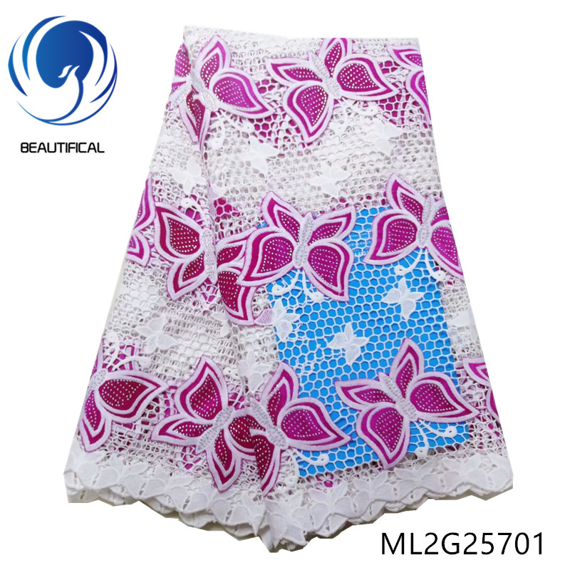 BEAUTIFICAL african lace fabrics Latest design Guipure lace with Butterfly pattern Flannel fabrics with stones 5yards ML2G257